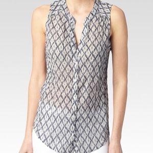 PAIGE Bonnie Button Down Sleeveless Grey Shirt